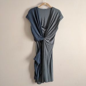 Max Mara Sz 44 Gray Contrast Twist Dress Silk